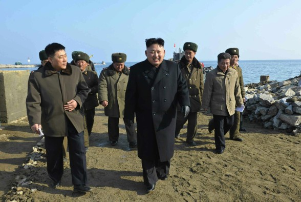 Kim Jong Un visits the construction of the KPA's 8 January Fishery Station.  8 January is Kim Jong Un's birthday (Photo: Rodong Sinmun).