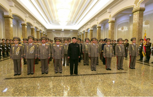 Kim Jong Un and senior KPA commanders visit the Ku'msusan Memorial Palace of the Sun at midnight on 16 February 2014, the anniversary of late DPRK leader Kim Jong Il's birth (Photo: Rodong Sinmun).
