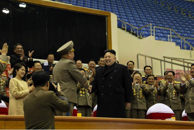 Kim Jong Un shakes hands with a senior KPA official who appears to be Gen. Ri Pyong Chol, Commander of the KPA Air and anti-Air Force, at a sports competition between KPA service members (Photo: Rodong Sinmun).