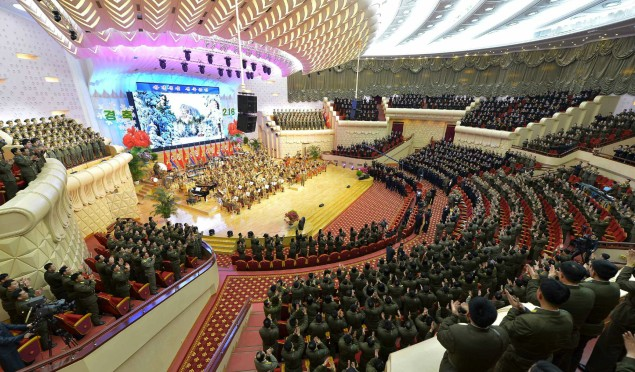 Performance by the State Merited Chorus at the People's Theater given to mark the birth anniversary of late leader Kim Jong Il (Photo: Rodong Sinmun).