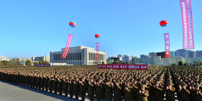 KPA service members and officers attend a meeting at the Ministry of the People's Armed Forces in Pyongyang on 3 February 2013 nominating Kim Jong Un as a candidate for election as a deputy to the 13th Supreme People's Assembly (Photo: Rodong Sinmun).