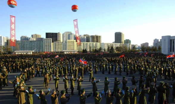 A dance party of KPA service members and officers,held at the Ministry of the People's Armed Forces in Pyongyang on 3 February 2014.  The party was held to mark Kim Jong Un's nomination as a candidate for deputy to the 13th Supreme People's Assembly (Photo: Rodong Sinmun).