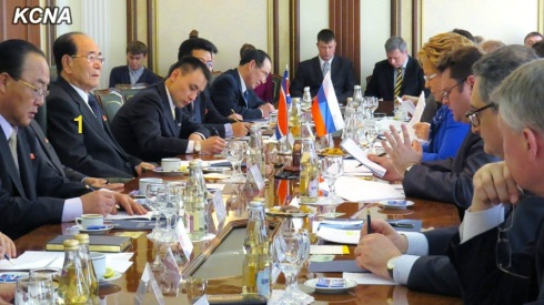 Kim Yong Nam (1) and a DPRK delegation meet with Valentina Matviyenko, Chair of the Russian Federation Council, and senior Russian officials in Moscow on 6 February 2014 (Photo: KCNA).