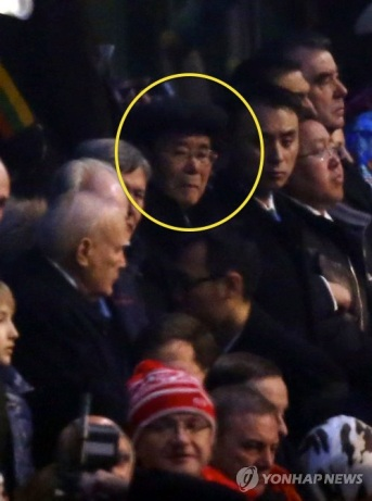 Kim Yong Nam (annotated) attends the opening ceremony of the 22nd Winter Olympics in Sochi on 7 February 2014 (Photo: Yonhap).