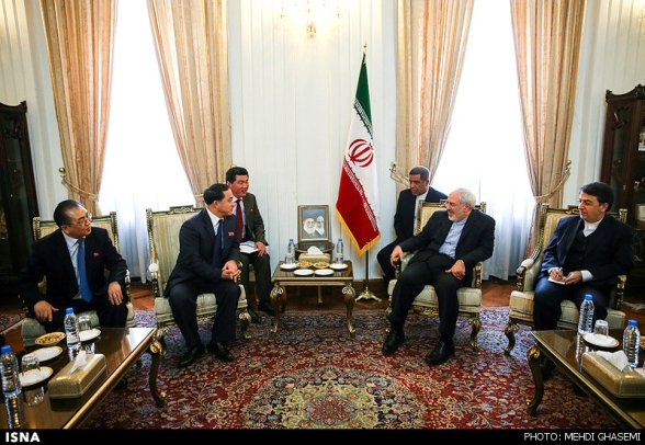 DPRK Vice Foreign Minister Ri Kil Song (2nd L) meets with Iran's Foreign Minister Mohammad Javad Zarif (2nd R) in Tehran on 24 February 2014 (Photo: Mehdi Ghasemi/ISNA/The Iran Project).