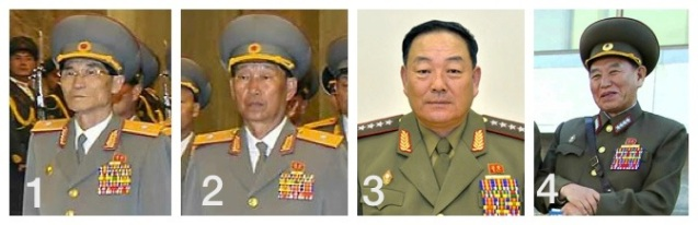 Senior KPA officials who have been demoted since 2011: Ryom Chol Song (1); Kim Su Gil (2); Hyon Yong Chol (3) and Kim Yong Chol (4) (Photos: KCNA-Yonhap, Rodong Sinmun).