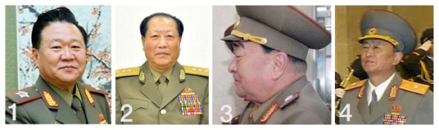 Senior KPA officials who have been demoted since 2011: Choe Ryong Hae (1); Choe Pu Il (2); Kim Kyok Sik (3); Yun Tong Hyon (4) (Photos: Xinhua, Rodong Sinmun, FAR/PRLNA, KCNA-Yonhap).
