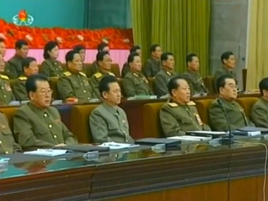 View of the platform (rostrum) at a meeting of active leading members of the Worker-Pesant Red Guard held in Pyongyang on 11 February 2014 (Photo: KCTV screen grab).