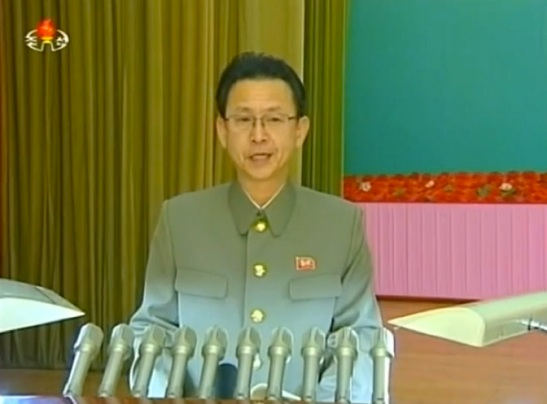 KWP Military Affairs Department Director O Il Jong (O Il-cho'ng) delivers the report at the WPRG meeting in Pyongyang on 11 February 2014 (Photo: KCTV screen grab).