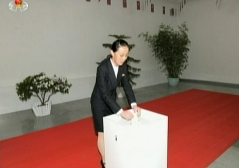 Kim Yo Jong (Kim Yo'-cho'ng) votes in elections for the 13th Supreme People's Assembly at Kim Il Sung University of Politics in Pyongyang on 9 March 2014 (Photo: KCTV-Yonhap).