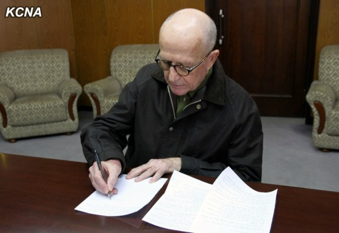 Australian national John Short is shown writing a statement on his activities in the DPRK in Pyongyang on 1 March 2014 (Photo: KCNA).