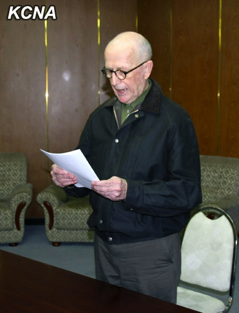 Australian national John Short is shown reading a statement to DPRK authorities in Pyongyang on 1 March 2014 (Photo: KCNA).