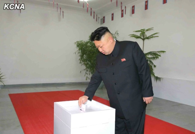 Kim Jong Un casts his ballot at Kim Il Sung University of Politics in east Pyongyang on 9 March 2014 (Photo: KCNA).