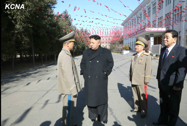 Kim Jong Un talks with Maj. Gen. Kim Kwang Hyok, commanding officer of KPA Unit #855.  Also seen in attendance are VMar Choe Ryong Hae (2nd R), Director of the KPA General Political Department and Member of the KWP Political Bureau Presidium, and Kim Kyong Ok (R), Senior Deputy Director of the KWP Organization Guidance Department and Member of the KWP Central Military Commission (Photo: KCNA).