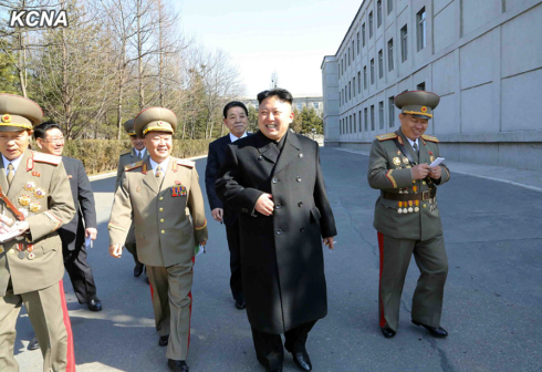 Kim Jong Un tours the campus of Kim Il-so'ng University of Politics in east Pyongyang on 9 March 2014 (Photo: KCNA).