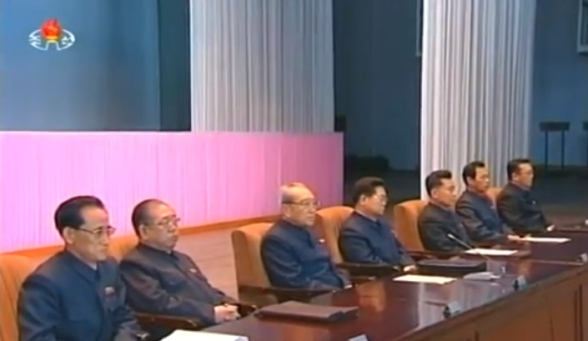 KWP Secretary and Director of the Propaganda and Agitation Department Kim Ki Nam (3rd L) and DPRK media executives attend a media seminar in Pyongyang on 6 March 2014 (Photo: KCTV screen grab).