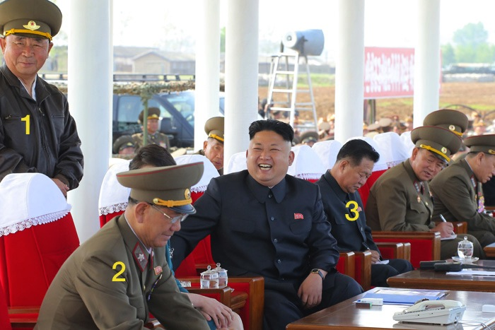 Kim Jong Un at the air drill competition.  Also in attendance are KPA Air and Anti Air Force Commander Gen. Ri Pyong Chol (1), KPA General Political Department Director Mar Hwang Pyong So (2) and WPK Secretary (and former KPA General Political Department Director) Choe Ryong Hae (3)