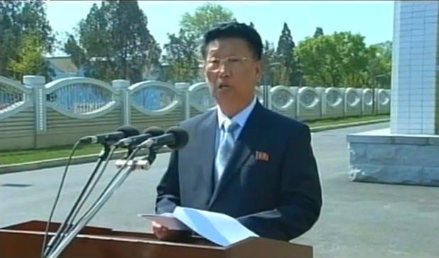 Kim Su Gil, Chief Secretary of the Pyongyang WPK City Committee, speaks during a ceremony on May 2, 2014 opening workers' dormitories at Kim Cho'ng-suk Textile Mill (Photo: KCTV).