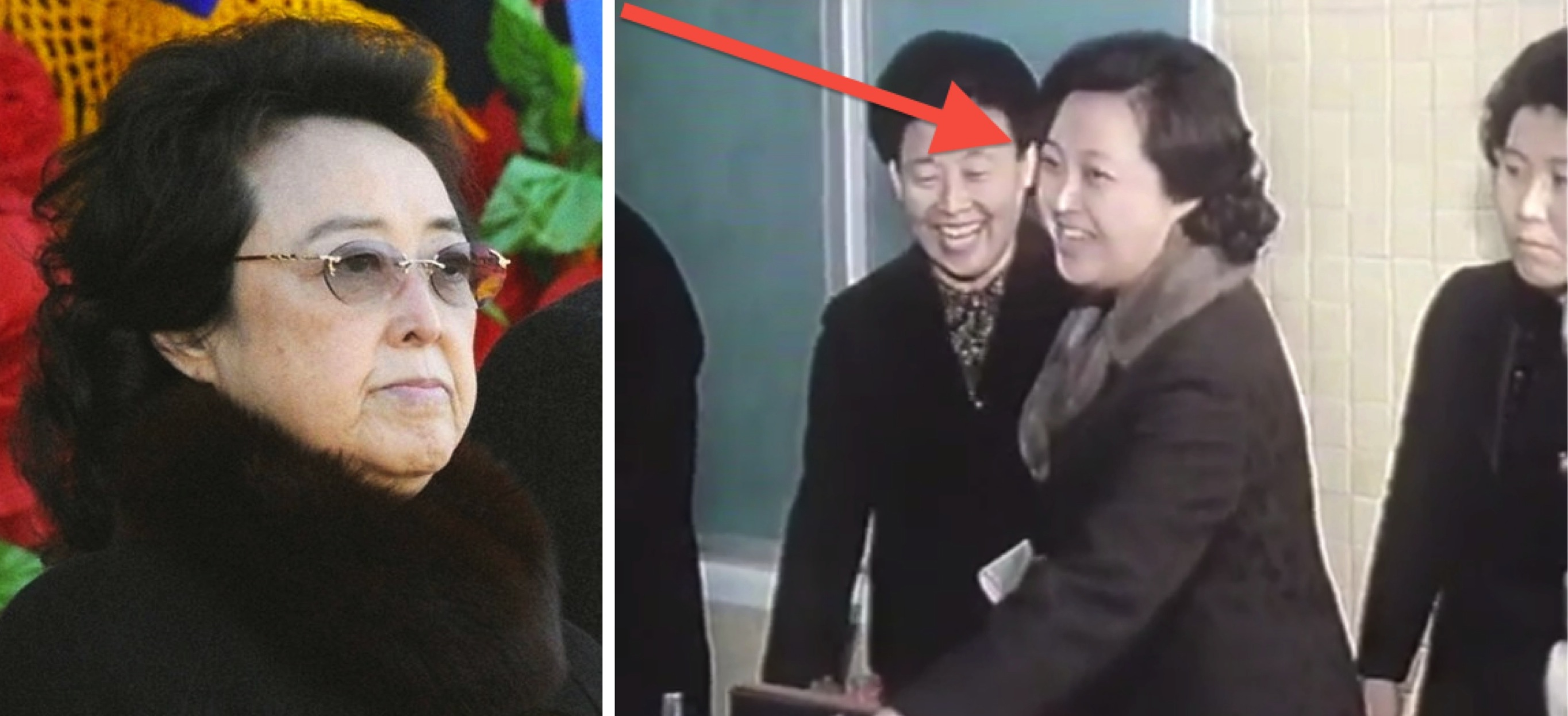 Kim Kyong Hui in 2012 (L) and in 1980 (Photo: KCNA and KCTV).