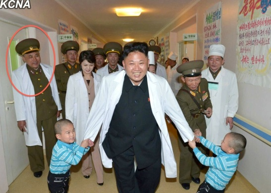 Ma Won Chun (annotated), Director of the National Defense Commission Designing Department, attends Kim Jong Un's visit to Taeso'ngsan Hospital in Pyongyang (Photo: KCNA).
