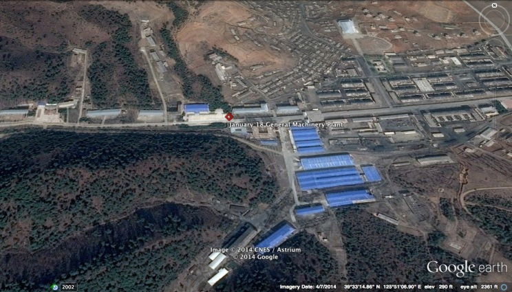 The January 18 General Machinery Plant is a leading producer of missile engines.  The plant was tasked by the central leadership in May 2014 to boost its production of missile engines for the DPRK's short- and  medium-range missiles (Photo: Google image).