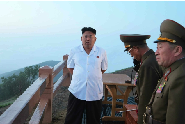 Kim Jong Un at a rocket drill by the KPA Strategic Rocket Forces on or around 29 June 2014 (Photo: Rodong Sinmun).