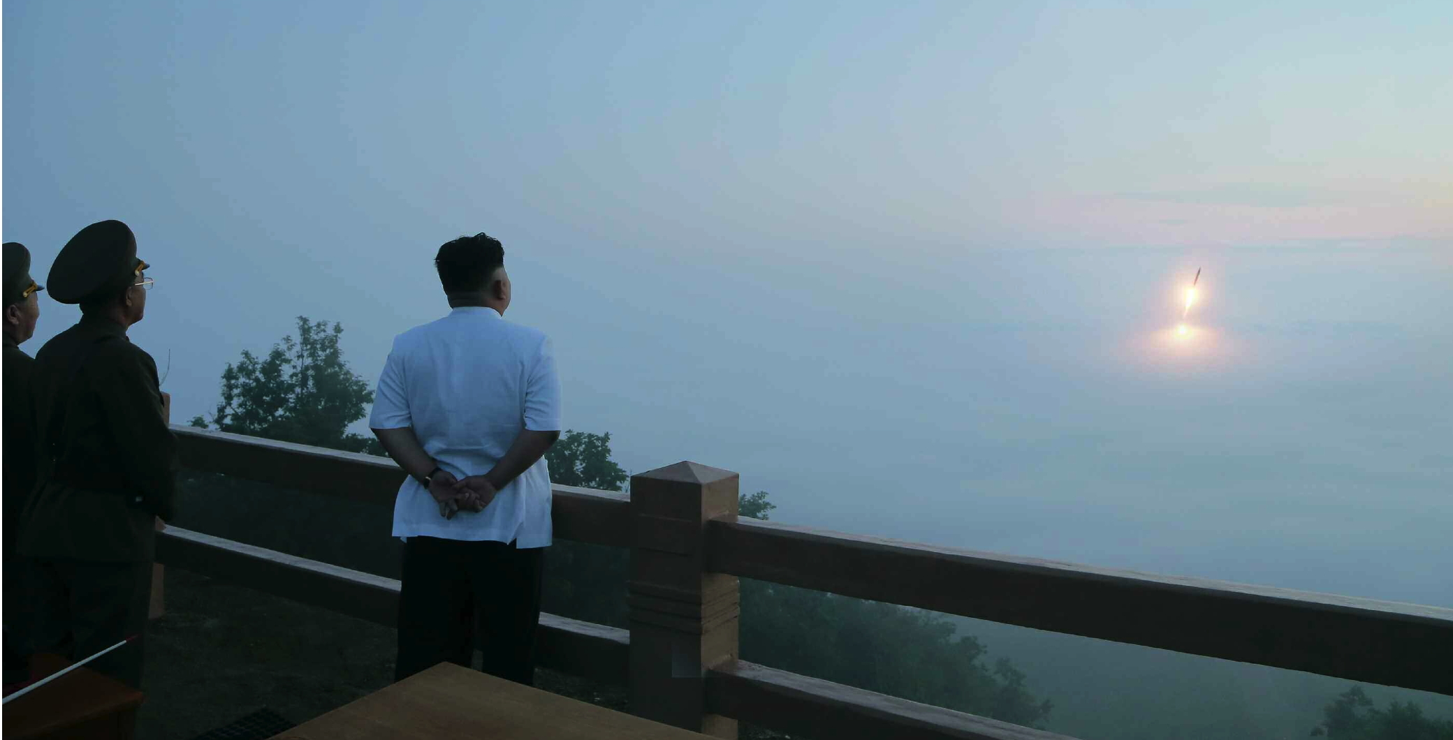 "Kim Jong Un observes a ""tactical rocket firing"" drill of the KPA Strategic Rocket Force on 29 June 2014 near Wo'nsan, Kangwo'n Province (Photo: Rodong Sinmun)."
