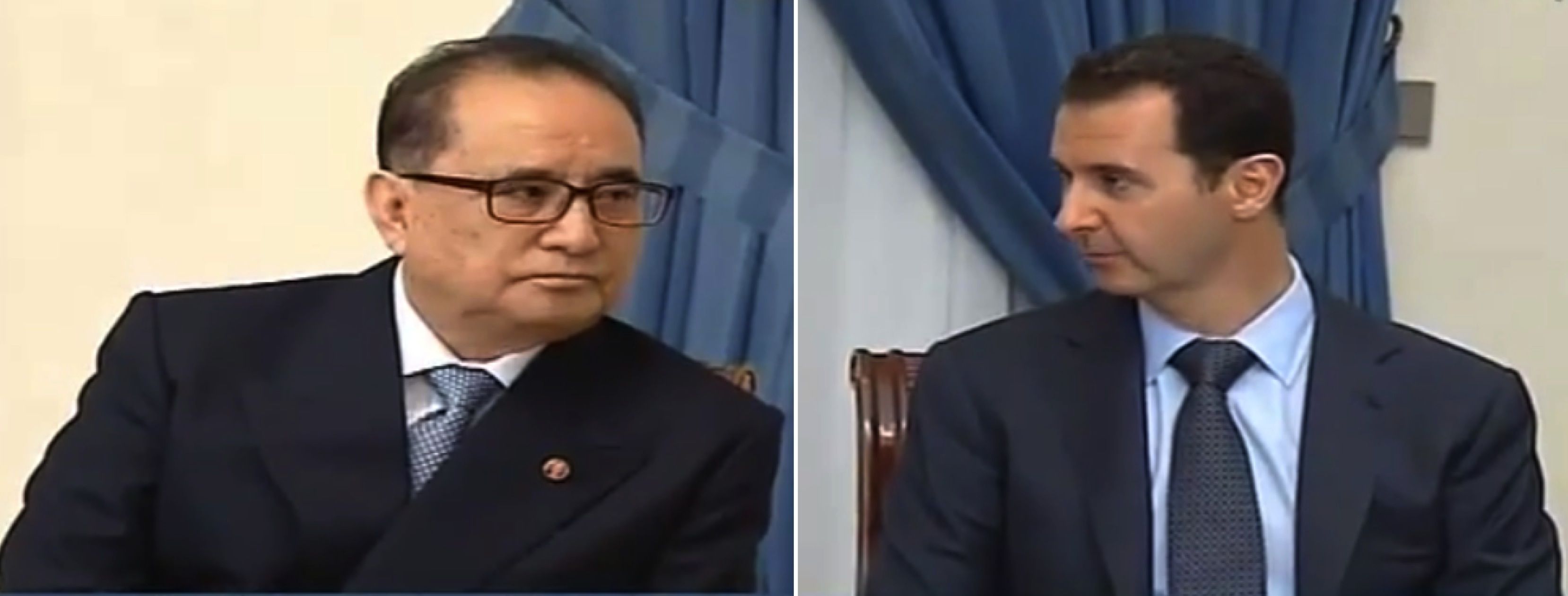DPRK Foreign Minister Ri Chol (L) meets with Syrian President Bashar al-Assad (R ) in Damascus on 18 June 2014 (Photo: Syria TV).