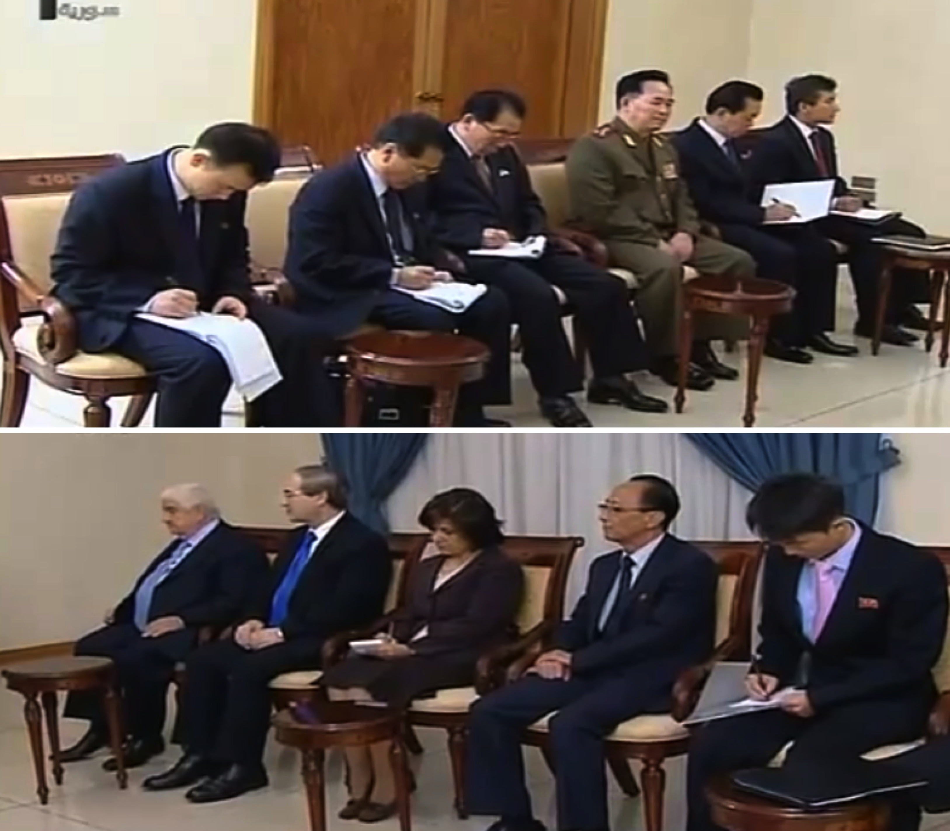 DPRK and Syrian officials attending President al-Assad's meeting with Ri Su Yong (Photo: Syria TV).