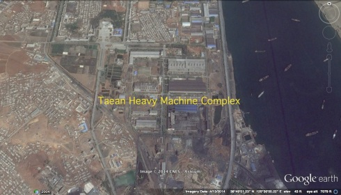 Overview of Taean Heavy Machine Complex in Taean-kuyo'k, Namp'o, South P'yo'ngan (Photo: Google image).