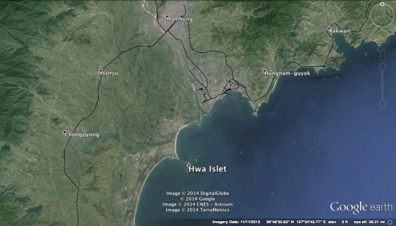 Hwa Islet in relation to South Hamgyo'ng Province (Photo: Google image).