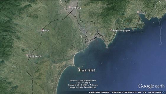 Hwa Islet in relation to South Hamgyo'ng Province (Photo: Google image).