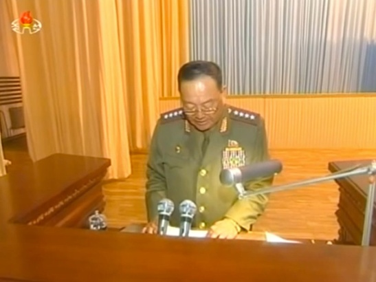 Minister of the People's Armed Forces Gen. Hyon Yong Chol speaks at a KPA event marking the 20th anniversary of Kim Il Sung's death on 6 July 2014 (Photo: KCTV)