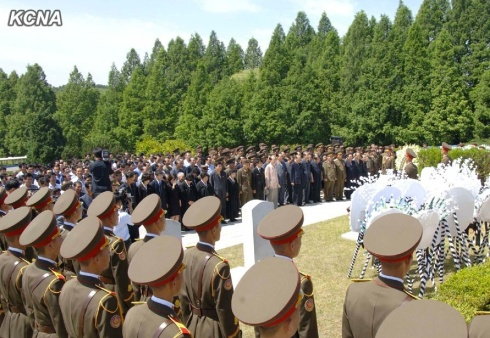 Burial ceremony of Jon Pyong Ho at the Patriotic Martyrs' Cemetery in Ryongso'ng District in Pyongyang on 10 July 2014 (Photo: KCNA).