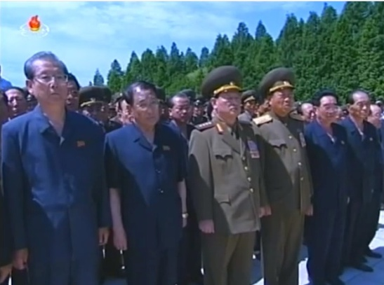 Members of Jon Pyong Ho's national funeral committee attending the burial ceremony, in the front row (L-R): WPK Secretary and SPA Chairman Choe T'ae Bok; WPK Secretary for International Affairs Kang Sok Ju; Minister of State Security Gen. Kim Wo'n-hong; Minister of People's Security Gen. Choe Pu Il; WPK Secretary for Cadres' Affairs Kim P'yo'ng-hae; and, WPK Secretary for Planning and Finance Kwak Pom Gi (Photo: KCTV).