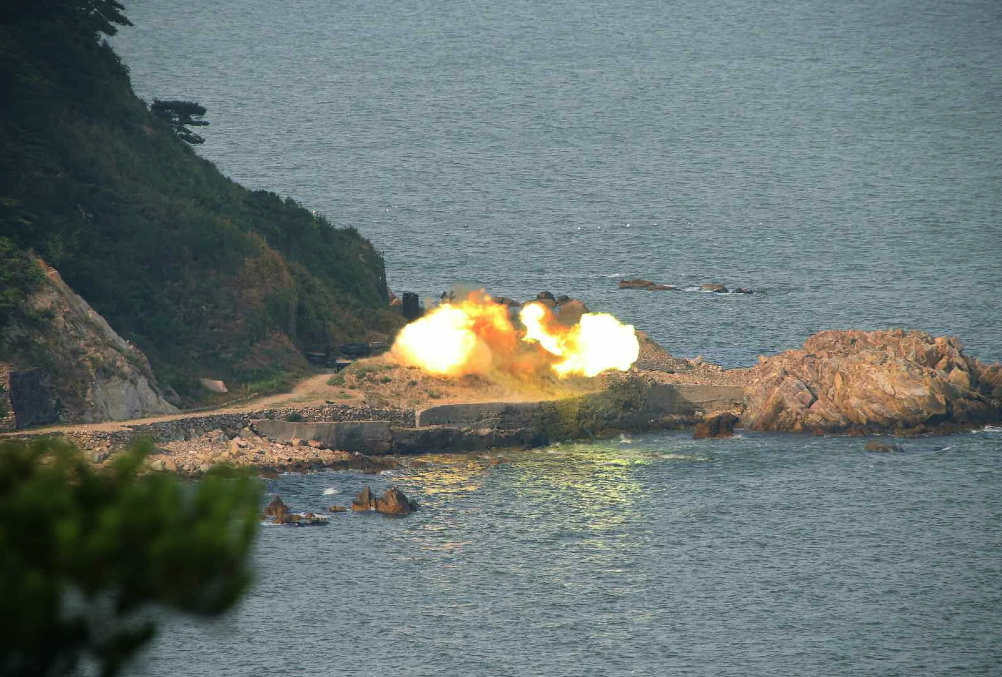 Artillery exercises conducted by the 5th company of the Hwa Islet Defense Detachment (Photo: Rodong Sinmun).