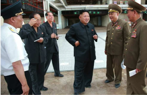 Kim Jong Un tours the construction of Terminal #2 at Pyongyang Airport in the Sunan District (Photo: Rodong Sinmun).