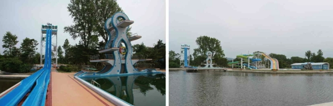 Waterslides and swimming area at Songdowon International Children's Camp (Photo: Rodong Sinmun).