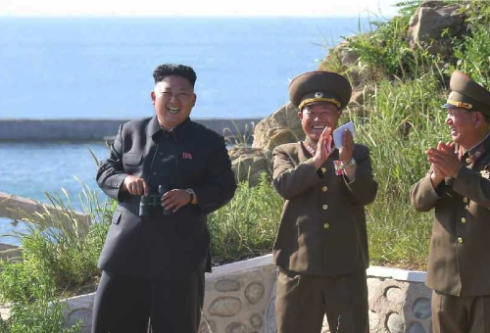 Kim Jong Un during an inspection of Ung Islet.  Also seen in attendance is Col. Gen. Pak Jong Chon (center) and VMar Hwang Pyong So (right) (Photo: Rodong Sinmun).