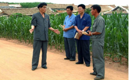 DPRK Premier Pak Pong Ju (L) talks with agricultural officials during a tour of farms in North P'yo'ngan Province (Photo: Rodong Sinmun).