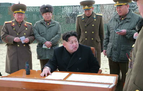 Kim Jong Un observes multiple launch rocket system drill in Kangwo'n Province on December 29, 2014.  Also in attendance are VMar Hwang Pyong So (Director of the KPA General Political Department), Gen. Kim Yong Chol (Director of the Reconnaissance General Bureau and Vice Chief of the KPA General Staff), Col. Gen. Choe Yong Ho (Commander of the KPA Air and Anti-Air Forces) and Gen. Hyon Yong Chol (Minister of the People's Armed Forces) (Photo: KCNA).