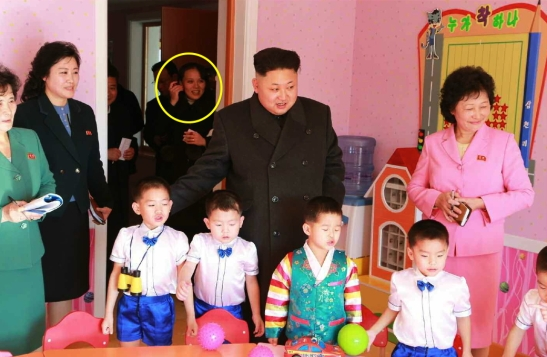 Kim Jong Un tours a classroom at the Pyongyang Baby Home and Orphanage on January 1, 2015.  Also in attendance is his younger sister Kim Yo Jong (annotated), deputy director of the WPK Propaganda and Agitation Department (Photo: Rodong Sinmun).