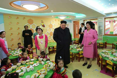 Kim Jong Un tours a dining hall at the Pyongyang Baby Home and Orphanage on January 1, 2015 (Photo: Rodong Sinmun).