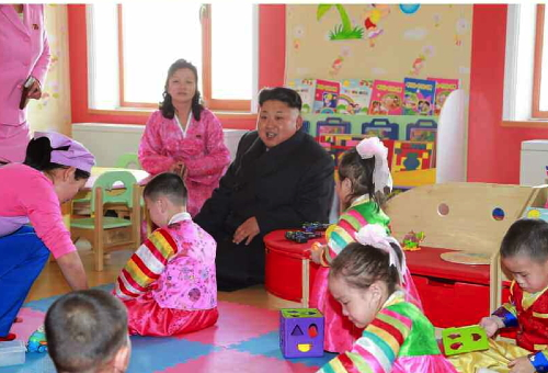 Kim Jong Un in a classroom at the Pyongyang Baby Home and Orphanage (Photo: Rodong Sinmun).