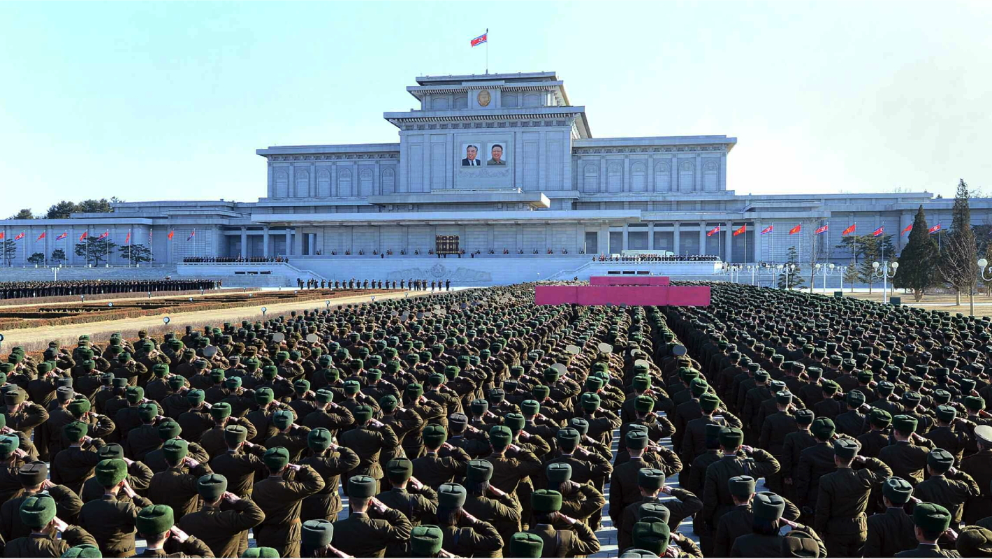 A meeting of KPA officers and service members marking the Day of the Shining Star (Kim Jong Il's birth anniversary) on the plaza of the Ku'msusan Memorial Palace of the Sun in Pyongyang on February 13, 2015 (Photo: Rodong Sinmun).