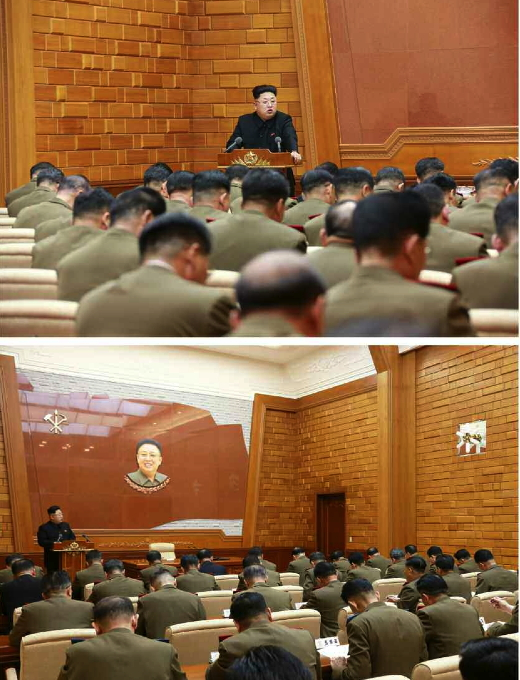 Kim Jong Un delivers a speech to an expanded meeting of the Party Central Military Commission (Photo: Rodong Sinmun).