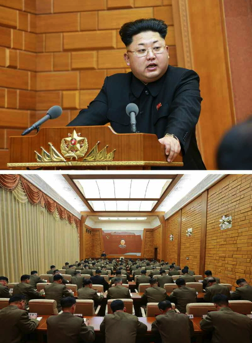 Kim Jong Un addresses the CMC's expanded meeting (Photo: Rodong Sinmun)
