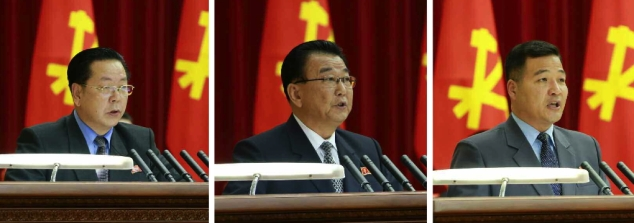 Jagang WPK Provincial Committee Chief Secretary Kim Chun Sop (left), DPRK Vice Premier Ri Man Gon (center), and KIS Youth League Central Committee Chairman Jon Yong Nam (right) address the expanded WPK Political Bureau meeting (Photos: Rodong Sinmun).