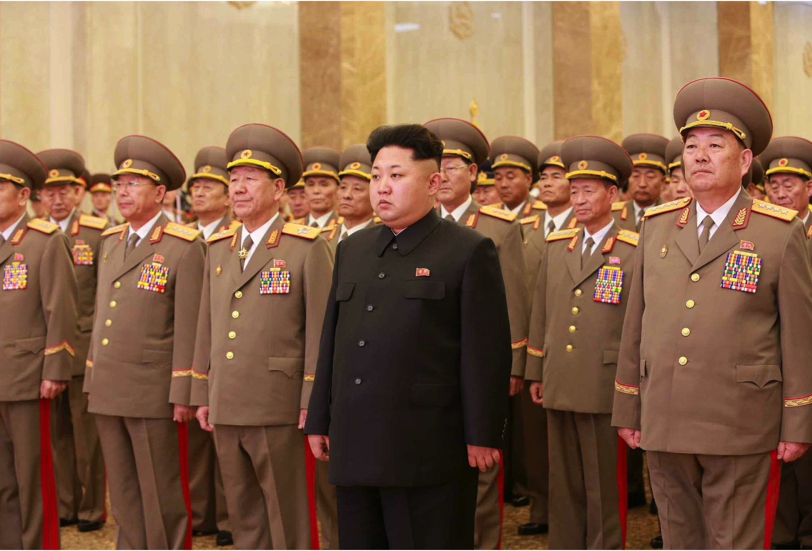 Kim Jong Un visits the Ku'msusan Palace of the Sun in Pyongyang on February 16, 2015.  Also in attendance (L-R) are Gen. Ri Yong Gil (Chief of the KPA General Staff), VMar Hwang Pyong So (Director of the KPA General Political Department) and Gen. Hyon Yong Chol (Minister of the People's Armed Forces).