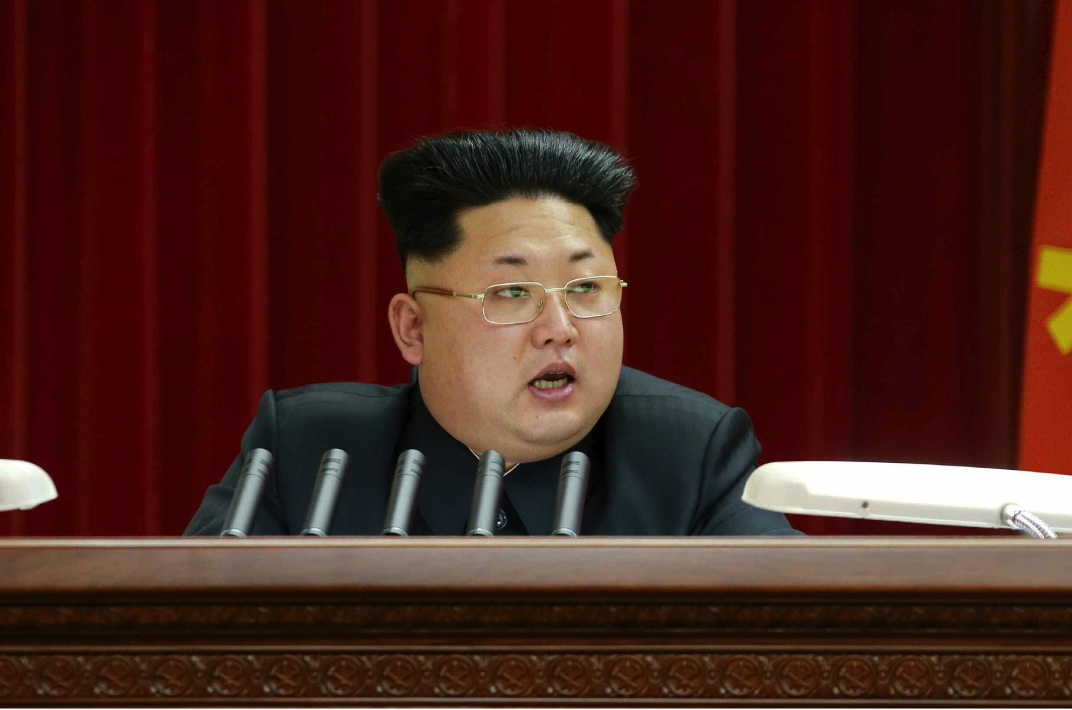 Kim Jong Un addresses an expanded meeting of the WPK Political Bureau in Pyongyang on February 18, 2014 (Photo: Rodong Sinmun).